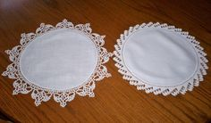 "2 Vintage Linen Fabric Doilies Hand Crocheted Lace Edging Ivory 16.5"" & 13.5"""