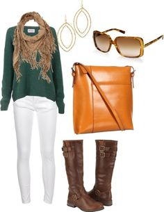 White skinny jeans with knee high boots, green sweater and camel accessories for fall : winter