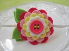 Felt Flower Headband - Simply Sweet  Scalloped Felt Flower In Summer Brights - Felt Flower Headband For Baby and Girls