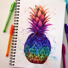 Colourful pineapple drawing by Jess Elford. Drawn with coloured pens. 🍍