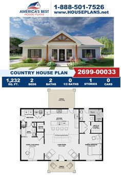 Take a look at this stunning Country design that features 1,232 sq. ft., 2 bedrooms, 2 bathrooms, a mud room, a flex room, and a covered porch. Learn more about this Country design on our website.
