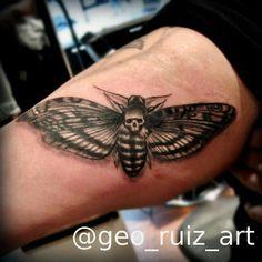 Death moth tattoo by Geo Ruiz, Chicago il