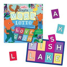 Match letters to complete simple words, win the lotto game, and have word building fun with family or friends!  Manufactured by eeBoo. Recommended for 5 years, 6 years, 7 years.