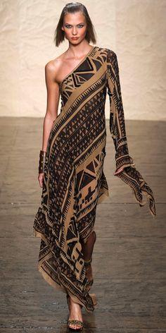 DONNA KARAN: Embroidered block-printed stretch silk chiffon evening dress