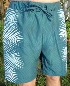 4a570334f6 Areca Palm Border Print Men's Board Shorts by AquamarineStudio.Board shorts,  made in the
