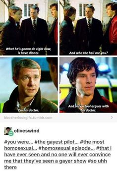 is a gayer show, believe it or not. It's called Merlin. tho this episode gave it a run for its money. Sherlock Bbc, Molly Hooper Sherlock, Sherlock Holmes Benedict Cumberbatch, Benedict Sherlock, Sherlock Fandom, Watson Sherlock, Sherlock Quotes, Jim Moriarty, Sherlock Comic