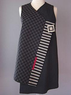 Wrapper Shoulder Vest in Brown and Black by Juanita Girardin