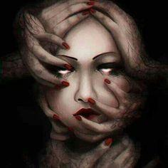 ✯ The Nightmare by =Skaera ✯ Scary, Creepy, Gothic Fantasy Art, Dark Fantasy, Acid Art, Wolf, Dark Images, My Demons, Inner Demons