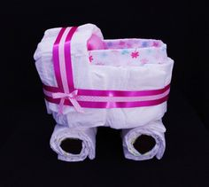 Pink stroller diaper cake perfect gift for by LaMarmailleDIzazou
