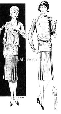 1929 Blouse Suit with Scarf SE20-3243