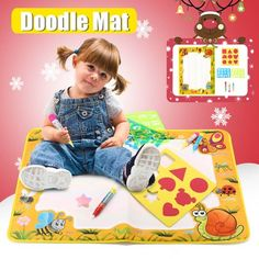 Funtok Doodle Mat Magic Water Drawing Painting Mat with Magic Pens ,Graphics Blocks, Word Boards, Graphical book Child Painting Play Learning Educational Toys for Kids, Yellow Water Drawing, Drawing Tips, Educational Toys For Kids, Kids Toys, Baby Club, Word Board, Walmart Shopping, Mobile App, Pens