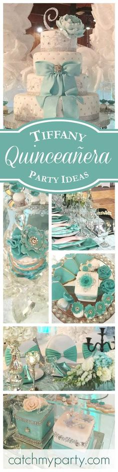 A magnificent Tiffany themed Quinceañera birthday party! The decorations and dessert table are fabulous! See more party ideas at http://CatchMyParty.com