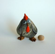 ROCK HEN. Painted rock Painted stone Rock Hen. by qvistdesign