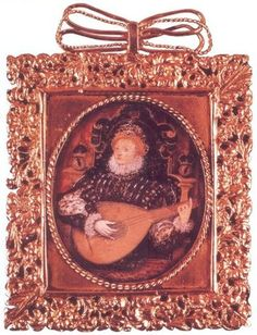 Miniature of Elizabeth playing the lute, one of her favorite instruments. Date unknown by Nicholas Hilliard