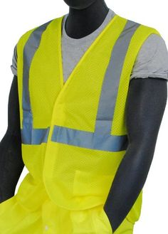 X-Large CHCYCLE Reflective Vest Motorcycle Yellow Security Jacket for Cycling Running Security High Visibility in The Dark