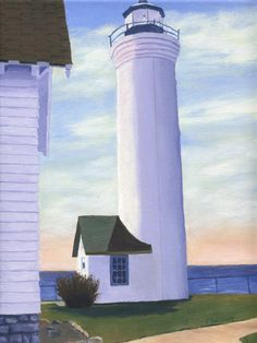 Landscape view of Tibbetts Point Lighthouse in Cape Vincent, NY where the St. Lawrence River meets Lake Ontario! The Giclee archival print is from my original painting $25
