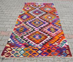 "VINTAGE Turkish Kilim Rug Carpet, Handwoven Kilim Rug, Antique Kilim Rug ,Decorative Kilim - 48"" x 98"" (123 x 250 CM)"
