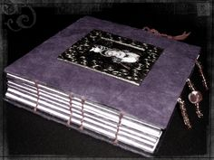 handmade book, witchy book, witch and owl, hand-stitched binding