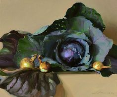 Jeffrey T. Larson  Purple Cabbage and Onions  20 x 24  oil on canvas  2010