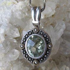 Beauty! Green Amethyst Prasiolite Sterling Silver with 14k Gold Vintage Pendant…
