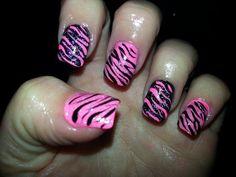 pink and black zebra nail design | pink & black zebra print nail art - YouTube
