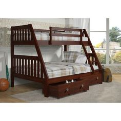 Donco Kids 61 in. Twin Over Full Bunk Bed 501748, Brown
