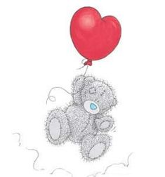Tatty teddy with heart balloon