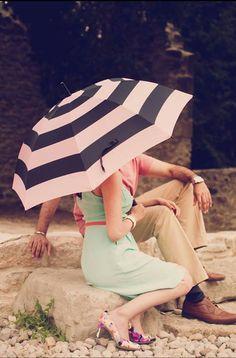 under the umbrella :)