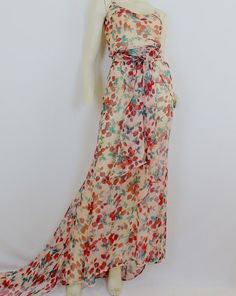 Vintage DOLCE and GABBANA FLORAL Maxi Dress Gown by Douvintage