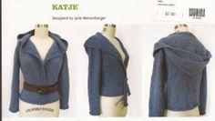 Coco Knits Knitting Pattern Katje top-down seamless shawl collar hoodie