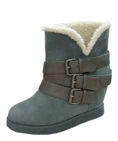 Gray Buckle Wynter Wedge Boot by Qupid