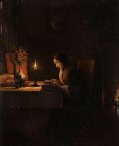 Petrus van Schendel:  Lektüre bei Kerzenlicht (Reading by Candlelight)  1806-1870