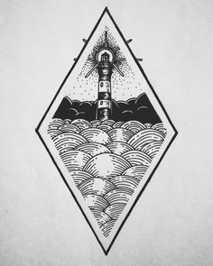 lighthouse sketch tattoo