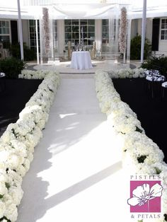 Wedding Ceremony - Flower Aisle leading to Chuppah by Pistils & Petals  https://www.facebook.com/PistilsAndPetals  https://www.PistilsAndPetals.com