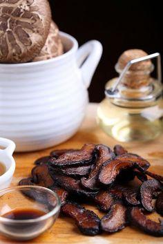 TRY - Shiitake Bacon -  1 TB olive oil 1/4 tsp salt 3/4 tsp liquid smoke 1 tsp sesame oil 1/2 tsp smoked paprika (optional) 2 cups shiitake mushroom caps, sliced thinly