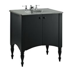 KOHLER Alberry Cinder Bathroom Vanity Cabinet at Lowe's. With a style evoking cherished antique heirlooms, the Alberry wood vanity cabinet takes its cues from colonial-era furnishings. Bathroom Vanities Without Tops, Bathroom Vanity Base, Best Bathroom Vanities, Bathroom Vanity Cabinets, Bathroom Ideas, Master Bathroom, Medicine Cabinets, Bathroom Stuff, Bathroom Cabinets