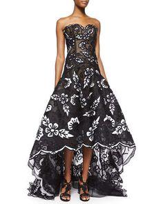 Oscar de la Renta Strapless Scalloped Floral Embroidered Gown