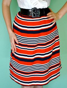 Vintage Striped Skirt  Textured Mod Style 1960s by TaraMiSioux, $32.00