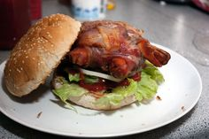 Not really an Ooh Food, it is a headscratcher. Its a turtle burger made of bacon, hotdogs & ground beef - insane!!!