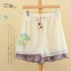 бесплатно shipping2014 летом новый женской японской мори девушка линии двойной эластичный пояс дамы цветочные шорты круёево милые шорты US $27.00