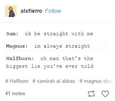 magnus is never straight<<<what about Alex fieeeerro <<< Alex is gender fluid. That makes him bi/pan/something other than straight