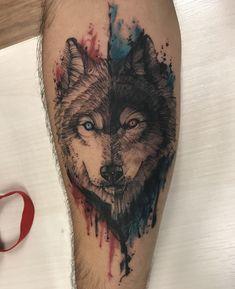 Tatuagem aquarela Tattoo Lobo Wolf #WolfTattooIdeas