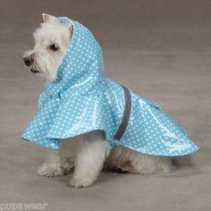 ESC Polka Dot Rain Jacket Xsm Blue ^^ You will love this! More info here : Dog coats Dog Raincoat, Dog Jacket, Jacket Style, West Highland Terrier, Dachshund Dog, Westie Dog, Dachshunds, Vintage Dog, Dog Coats