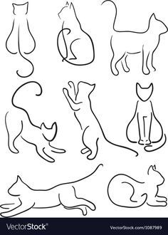 Buy Silhouette of Cats. by Sveta_Aho on GraphicRiver. Silhouette of Cats. Cat Design Set Line Art. Vector illustration, fully editable, vector objects separated and groupe. Design Set, Cat Design, Line Design, Zentangle, Cat Art, Tattoo Inspiration, Embroidery Patterns, Funny Embroidery, Tattoo Patterns