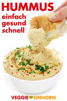 Hummus Rezept deutsch   Schnelles Rezept für Hummus mit Kichererbsen aus der Dose   Hummus selber machen   einfach gesund schnell vegan #VeggieEinhorn