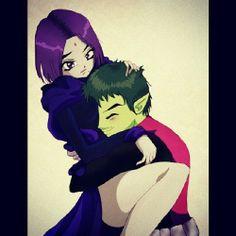 Raven and Beast Boy Teen Titans Raven, Teen Titans Go, Teen Titans Fanart, Raven Beast Boy, Original Teen Titans, Arte Ninja, Bbrae, Arte Dc Comics, Dc Memes