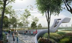 "Modern architecture has often been accused of encroaching on wildlife habitats, but design firm, McGregor Coxall, has just unveiled a manmade design that is, literally, for the birds. The Australian designers' proposal to build the world's first migratory ""Bird Airport"" has taken first place in an international competition that sought ideas for converting a massive land fill site in Lingang, China into a wetland bird sanctuary."