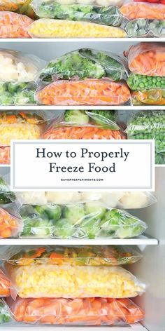 How to Properly Freeze Food Keep Food Frozen Longer! - How to freeze food to keep it fresh the longest, how to thaw foods safely and what foods are NOT freezer friendly! Keep food frozen longer! Freezing Vegetables, Frozen Vegetables, Freezing Fruit, Freezing Carrots, Freezing Potatoes, Store Vegetables, Freezer Cooking, No Cook Meals, Veggie Freezer Meals
