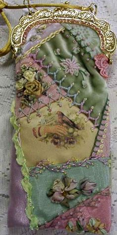 www.facebook.com/cakecoachonline - sharing..... I ❤ crazy quilting . . .   yellow neckpurse