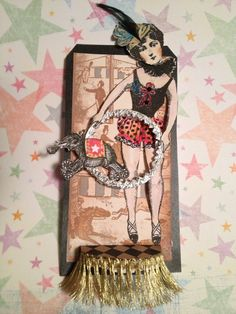 Cirque art tag by Rarebird Lisa using Character Construction stamps